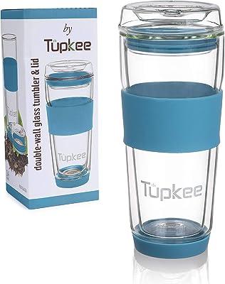 Tupkee Double Wall Glass Tumbler - Insulated Tea/Coffee Mug & Lid, Hand Blown Glass Travel Mug, 14-Ounce - Niagara