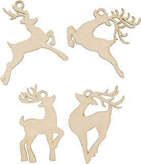 Unfinished Wooden Christmas Ornaments - 24-Pack Paintable Blank Xmas Tree Hanging Wood Slices for Kids DIY Art Crafts, Festive Decoration, 4 Assorted Reindeer Designs, 4.3 x 4.25 x 0.1 Inches