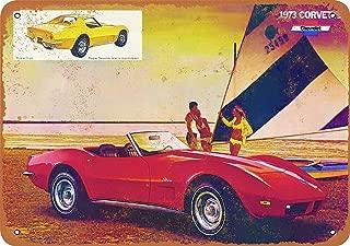 Bidesign 12 x 16 Tin Sign - Vintage Look Metal Sign 1973 Corvette