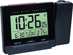 TFA-Dostmann 60.501601 Réveil Radio-piloté avec Bloc d'alimentation, réveil, température intérieure, Date, Noir