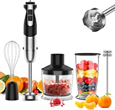 [Upgraded] 5-In-1 Immersion Hand Blender, healthomse Powerful 800W 12-Speed Stainless Steel Stick Blender with Milk Frothe...