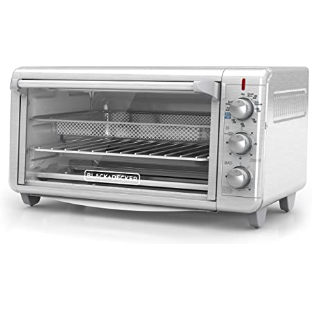 """Black+Decker TO3265XSSD Extra Wide Crisp 'N Bake Air Fry Toaster Oven, Silver, Fits 9"""" x 13"""" Pan"""