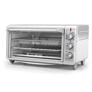 Black+Decker TO3265XSSD Extra Wide Crisp 'N Bake Air Fry Toaster Oven, Silver, Fits 9  x 13  Pan
