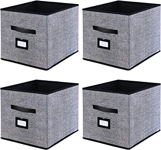 "Onlyeasy Foldable Cloth Storage Cubes with Label Holders - Fabric Storage Bins Baskets Organizers for Home Office Nursery Cubby with Dual Leather Handles, 13""x15""x13"", 4 Pack Black, MXABXL04PLP"