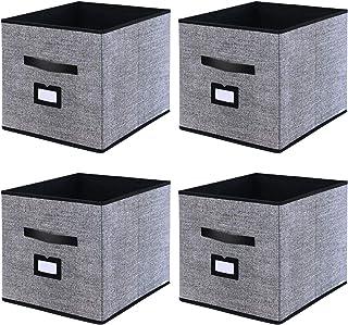 comprar comparacion homyfort Caja de Almacenaje Set de 4 Cajas de Juguetes, Caja de Tela para Almacenaje con Cuero maneja y Etiqueta, 33 x 38 ...