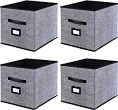 Onlyeasy Foldable Cloth Storage Cubes with Label Holders - Fabric Storage Bins Baskets Organizers for Home Office Nursery Cubby with Dual Leather Handles, 13