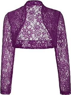 Belle Poque Womens Long Sleeve Cropped Lace Shrug Bolero BP49