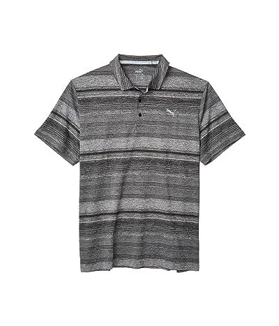 PUMA Golf Variegated Stripe Polo (Puma Black Heather) Men