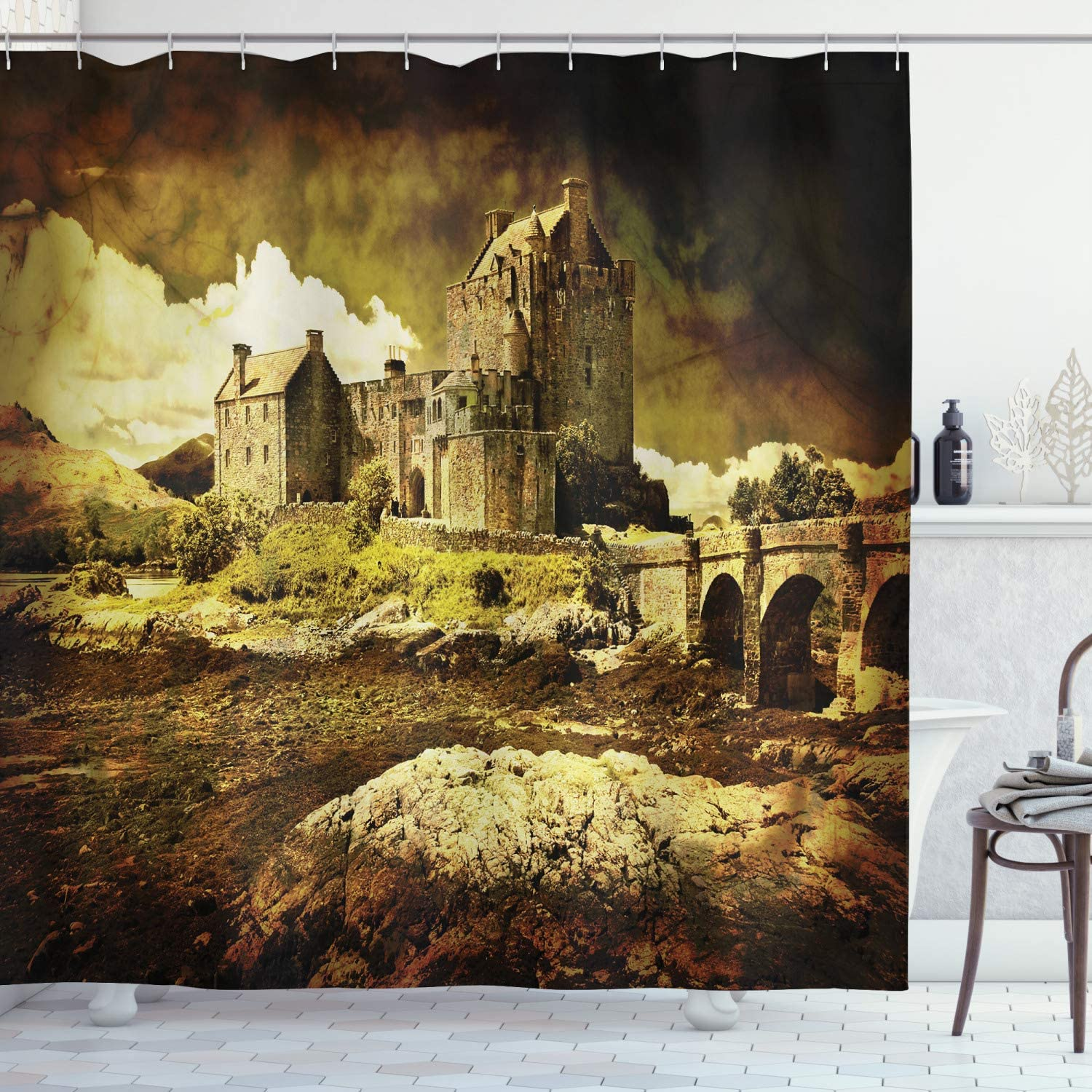 Ambesonne Medieval Shower Curtain, Old Scottish Castle Vintage Style European Middle Age Culture Heritage Town Photo, Cloth Fabric Bathroom Decor Set with Hooks, 84