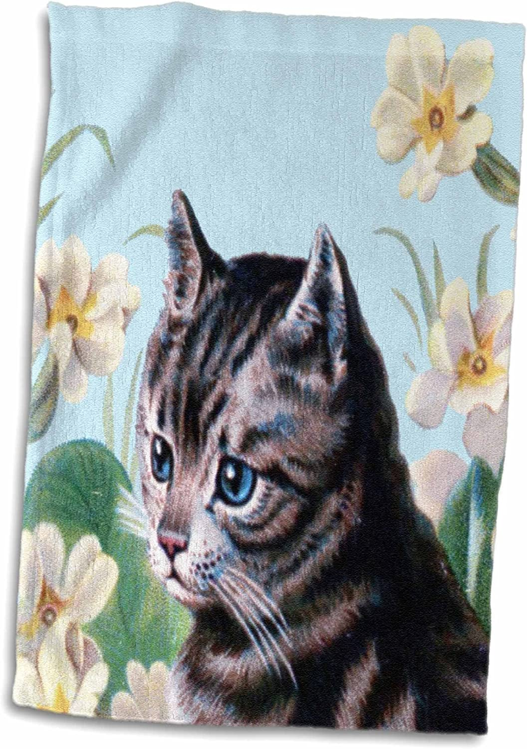 Amazon Com 3d Rose Cute Grey Kitten Vintage Art Tabby Cat With Sweet Blue Eyes In Garden White Flowers Gray Kitty Towel 15 X 22 Multicolor Home Kitchen
