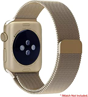 AirCase Milanese Loop Band Strap for Apple Watch Series 5, 4, 3, 2, 1-44mm 42mm Steel Alloy (Gold)