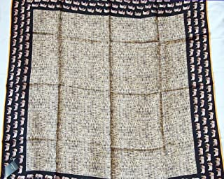 Jim Thompson - Beautiful 100% Square Thai Silk - 32 Inch X 32 Inch Scarf/Scarves/Shawl/Stole/Wrap/Cape/Stole/Tablecloth/Home Decoration - Brown Elephant