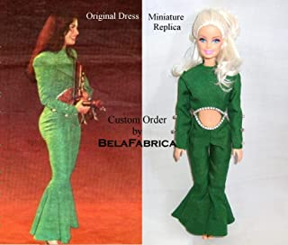 Selena Quintanilla Green Jumpsuit Miniature Replica Keepsake Custom Celebrity Dress Dollhouse 1/6 Scale Doll Clothes Gift for fan Memory Personalized Unique Gift for Birthday Occasion Friend