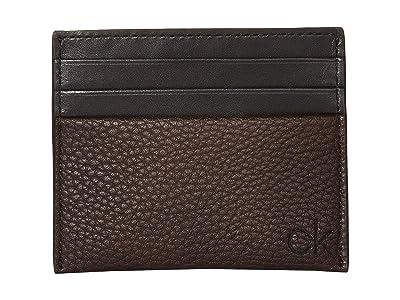 Calvin Klein Pebble Card Case (Dark Brown) Handbags