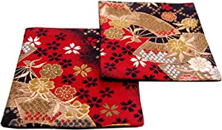 SHINSENDO KIMONO COASTER Japanese traditional fabrics Kinran 2 sheets set (Pattern name: Ougi)