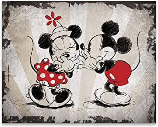 EntertainArt Disney Classic Vintage Mickey and Minnie Mouse Having a Good Laugh. Premium Gallery Wrapped Canvas. Easy to Hang on Any