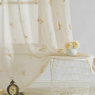 Jubilantex - Cortinas transparentes con diseño de mariposas para guardería, habitación de niños y niñas, color dorado con ...