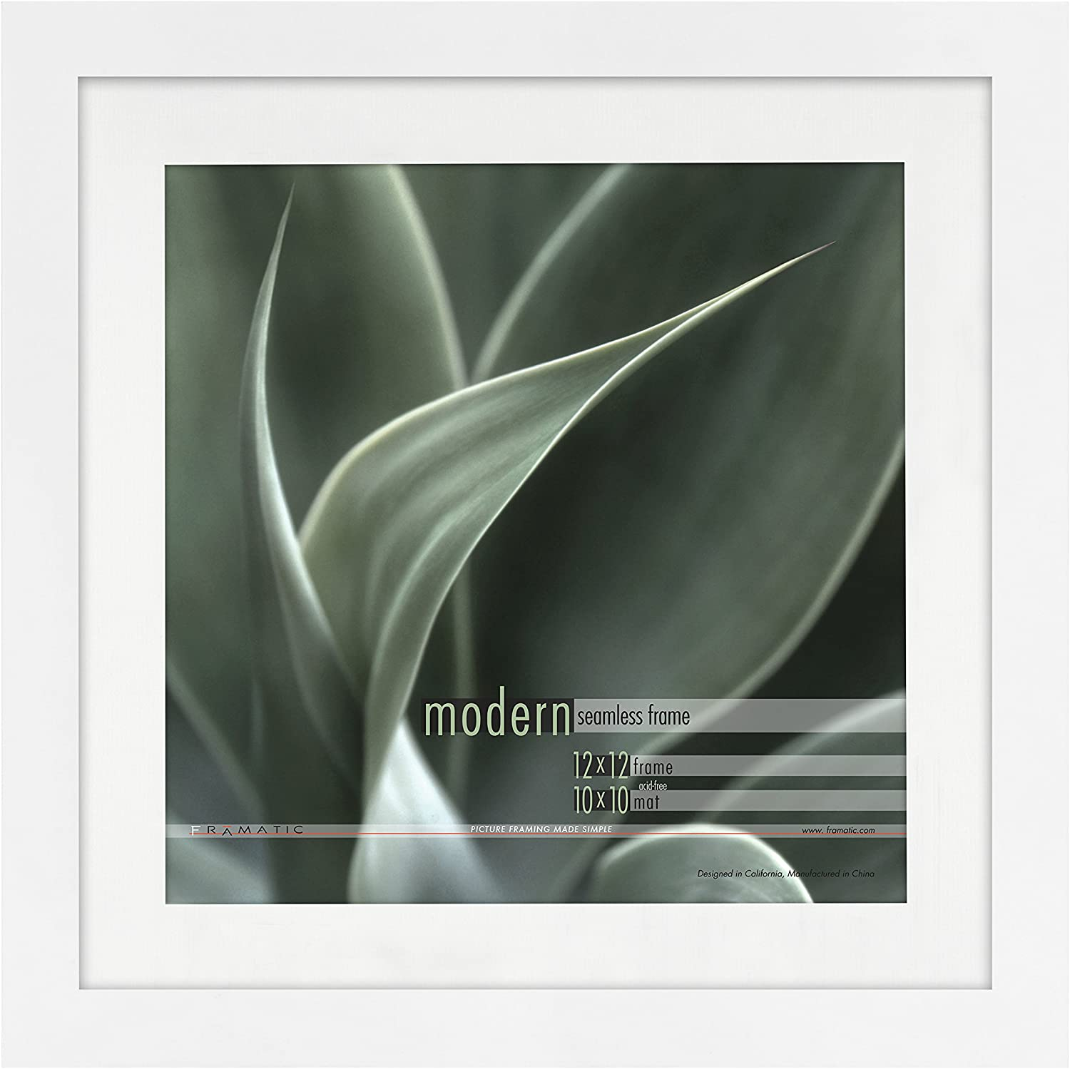 Framatic by MCS Modern 12x12 matted for 10x10 Photo White Frame,