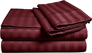 500-Thread-Count Best 100% Egyptian Cotton luxury Stripe Bed Sheet Set - Burgundy Long-staple Cotton Twin Stripe Sheet for Bed, Fits Mattress Up to 18'' Deep Pocket, Soft Sateen Weave 3 pc Sheets Set