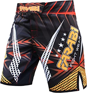 Farabi Sports MMA Shorts Compitiion Training Cage Fight Kick Boxing Muay Thai Pant, Size Guideline in Pictures Area