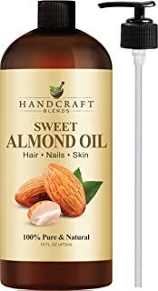 Handcraft Pure Sweet Almond Oil - 100% Pure and Natural - Premium Therapeutic Grade Carrier Oil for Aromatherapy, Massage, Moisturizing Skin and Hair - Huge 16 oz - Packaging May Vary