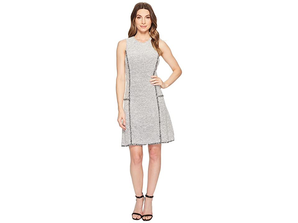 Ellen Tracy Sleeveless Seamed Flounce Dress (Night Sky Combo) Women