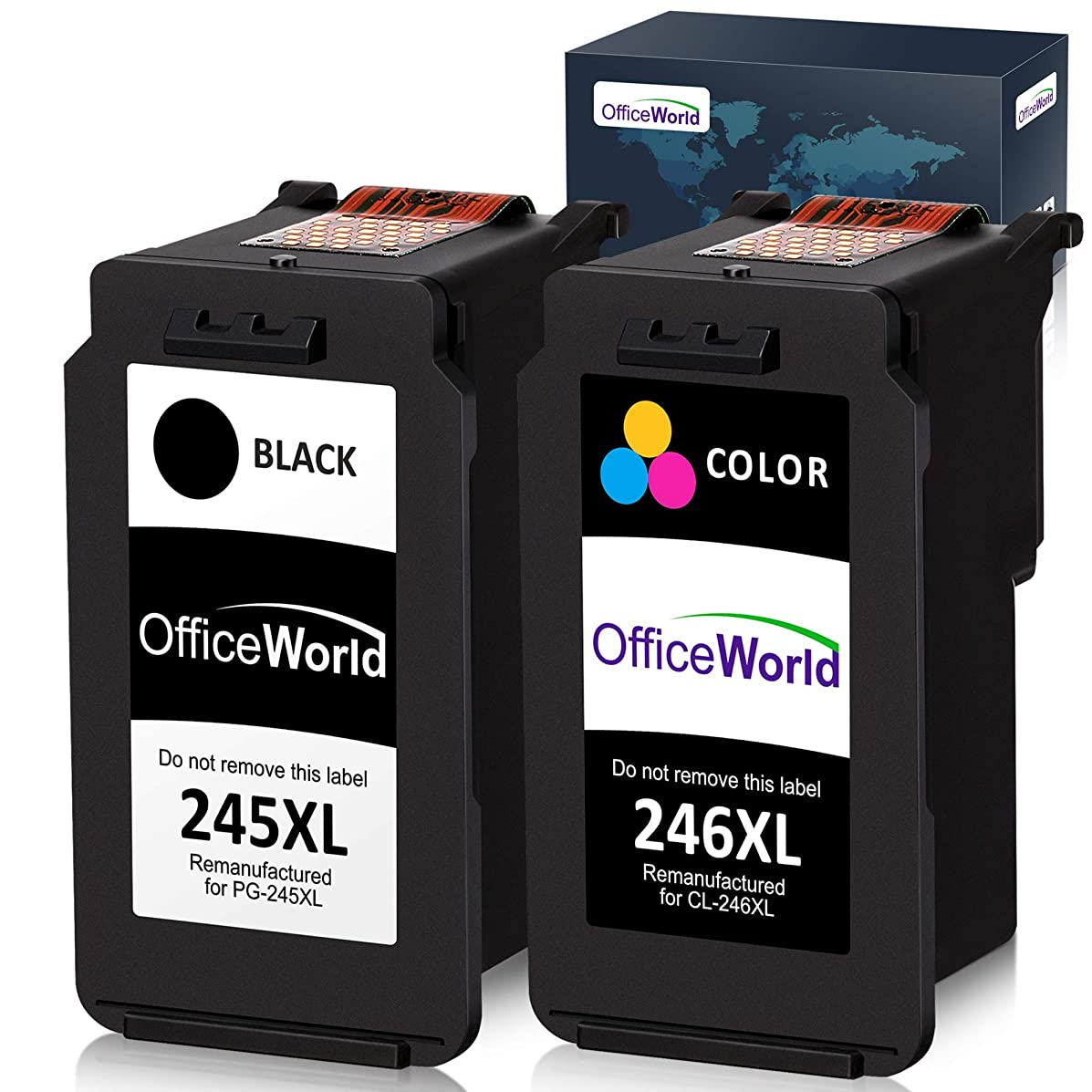 Office World Remanufactured Ink Cartridge Replacement for Canon PG-245XL 245XL CL-246XL 246XL PG-243 for Pixma MX492 MG2920 MG2520 iP2820 MG2922 MG2420 MG2522 MG3022 MG2924 (1 Black + 1 Tri-Color)