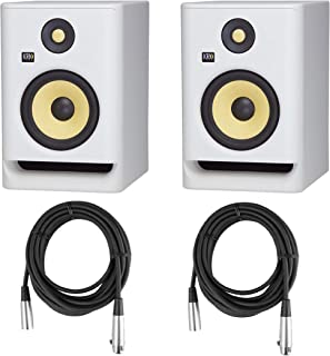 """KRK 2 Pack ROKIT 7 G4 7"""" Powered White Noise Near-Field Studio Monitor, 42Hz-40kHz Frequency Response - With 2 Pack 20' 6mm Rubber XLR Microphone Cable"""