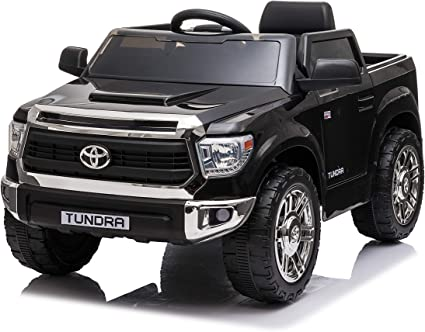 Amazon Com Rock Wheels Licensed Toyota Tundra Ride On Car 12v Battery Powered Electric 4 Wheels Kids Toys W Remote Control Foot Pedal Music Aux Led Headlights 2 Speeds Black Midnight Black Toys