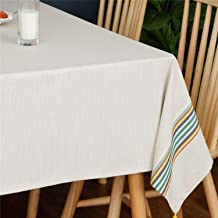 Luxiu Home Striped Tassel Cotton Linen Tablecloth Washable Table Covers for Kitchen Dining Table Decoration (Rectangle 55x...