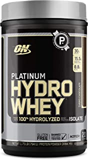 Optimum Nutrition Platinum Hydrowhey Protein Powder, 100% Hydrolyzed Whey Protein Isolate Powder, Flavor: Turbo Chocolate,...