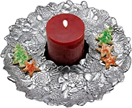 Arthur Court Designs Aluminum Pinecone Wreath Holiday Round Tray; 14