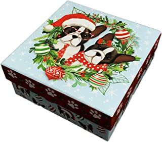 Molly & Rex Cute Festive Christmas French Bulldog Pair Featured in Holiday Wreath with Ornaments Decorative Holiday Storage Gift Box (Large, Light Blue)