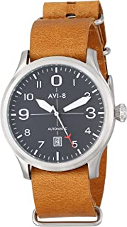 AVI-8 Men's AV-4021 FlyBoy Analog Display Japanese Automatic Watch with Leather Band