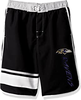 Outerstuff NFL Baltimore Ravens Youth 8-20 Swim Trunk, Medium (10-12), Black