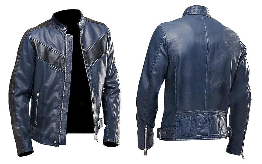 Cafe Racer Navy Blue Vintage Biker Classic Motorcycle Real Leather Jacket