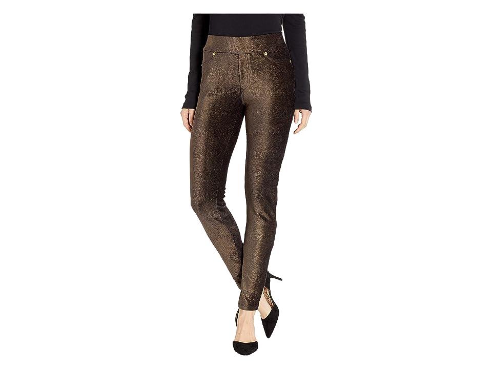 MICHAEL Michael Kors Foil Cord Pull-On Leggings (Black/Gold) Women