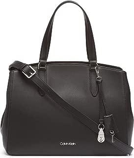Calvin Klein womens Calvin Klein Lock Daytona Leather Statement Satchel