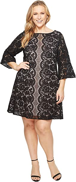 KARI LYN Plus Size Adley 3/4 Sleeve Lace Dress