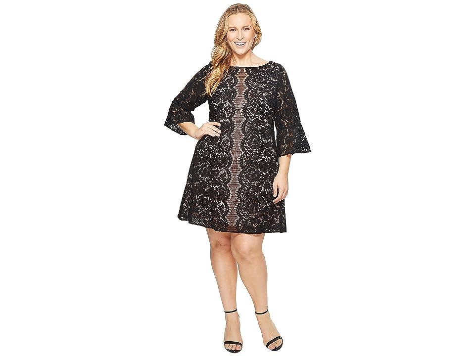 KARI LYN Plus Size Adley 3/4 Sleeve Lace Dress (Black/Carnation) Women