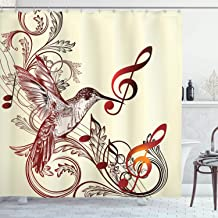 Ambesonne Hummingbirds Decorations Collection, Flying Bird and Music Notes Clef Five Line Staff Musical Creative Image, Polyester Fabric Bathroom Shower Curtain, 75 Inches Long, Burgundy Cream