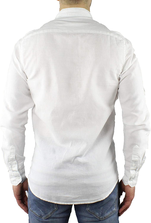 Camisa de hombre de lino con cuello Coreana blanca de manga larga de verano Slim Fit Serafino Sartorial de mangas plegables