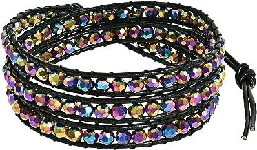 AeraVida Rainbow Muse Fashion Crystal-Cotton Wax Rope-Leather with Base Metal Clasp Tribal Wrap Bracelet