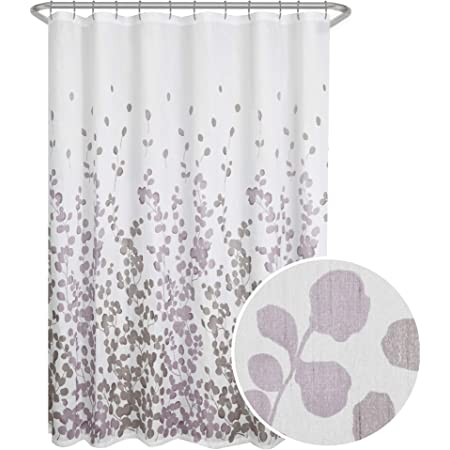 "Maytex Sylvia Printed Faux Silk Fabric Shower Curtain, Purple, 70 x 72"""