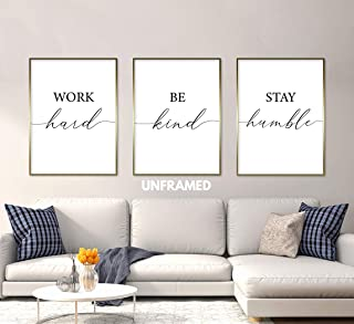 Work Hard, Be Kind, Stay Humble, Unframed, 18 x 24 Inches, Set of 3, Posters, Minimalist Art Typography Art, Bedroom Wall Art, Romantic Wall Decor