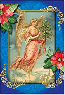 B1747AXSG Box Set of 12 Christmas Angels Christmas Greeting Cards with Envelopes
