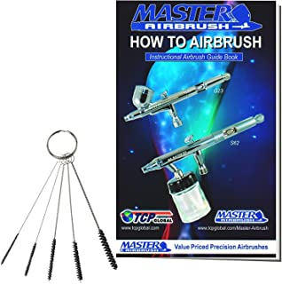 Master Airbrush 5 Piece Mini Cleaning Brush Set Kit, Clean Airbrush, Paint Spray Gun, Nozzle Tip, Tattoo Tube, 3.5 inch Nylon Precision Brush kit That Includes a How-to-Airbrush Manual Booklet