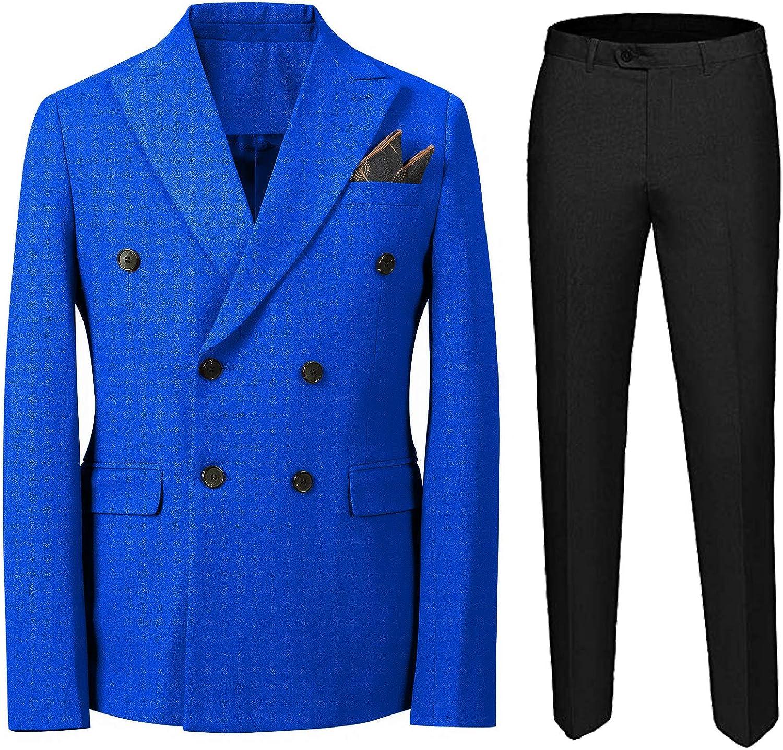 Sxfashbrd Men's Double Breasted 2-Piece Suits Pants Set Vintage Classic Tuxedo Slim Fit Suit Blazer Business Casual Jacket