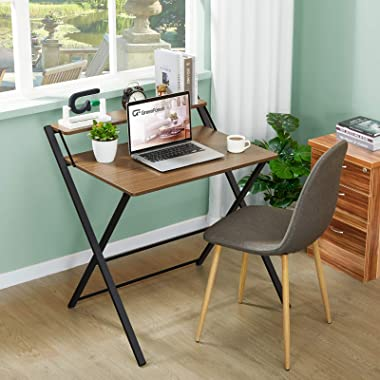 GreenForest Folding Desk for Small Space, 2 Tiers Computer Desk with Shelf Home Office Small Desk with Metal Legs, No Assembl
