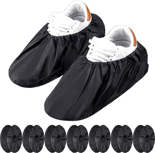 8 Paires Couvre-Chaussures Réutilisables Antidérapants Couvre-Bottes Imperméables pour Protection de Tapis de Ménage ...